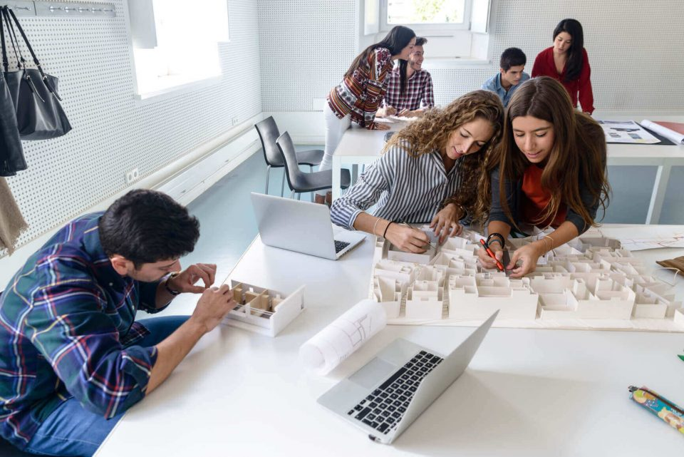 interior design students working on a project