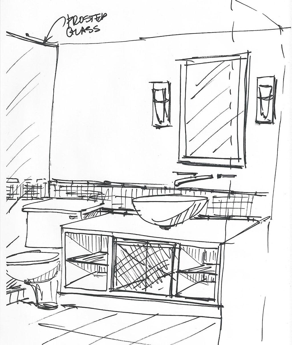 Quick Sketching Progression - bathroom