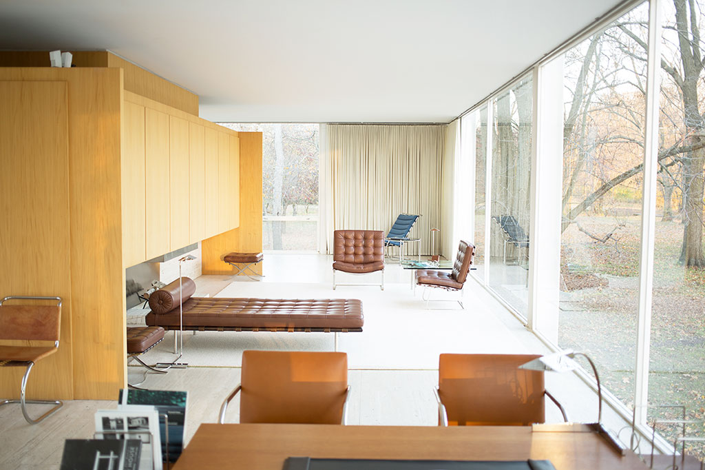 Iconic Interior Design - Farnsworth House, Plano, IL. Designed by Ludwig Mies van der Rohe, 1951.