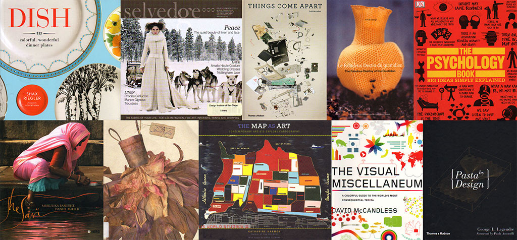 Books and magazines on dishes, textiles, fashion, maps, psychology, and more
