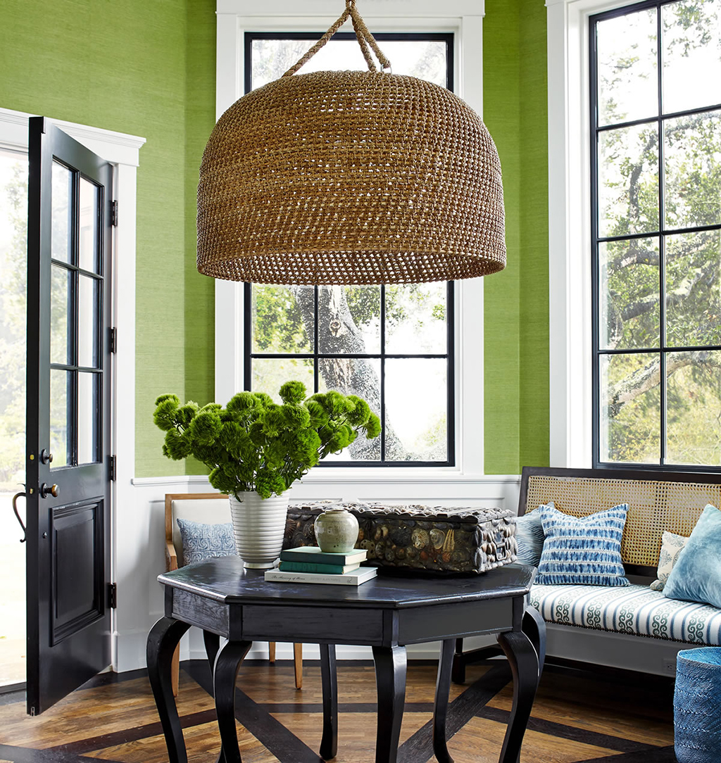 We love how bright this entryway becomes with that splash of chartreuse on the wall of this Jeffery Alan Marks project.