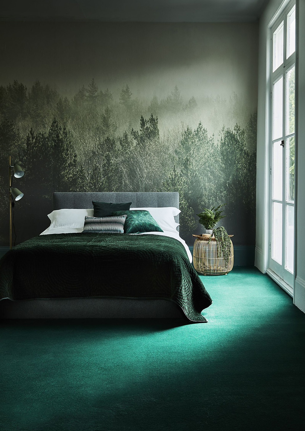 Interior Spaces Perfect for Spring - This room emits a tranquil, cozy vibe with its dark green hues. We could rest our heads here any day.