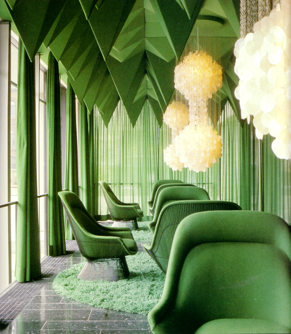 Interior Spaces Perfect for Spring - Partner up some Warren Platner chairs with some Verner Panton chandeliers and you've got a winning combination in this green space.