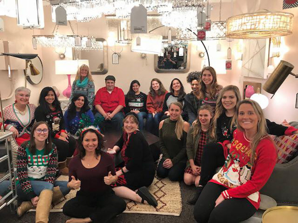 Chelsea (far right) with the ASID Student Chapter Board Members at their holiday party