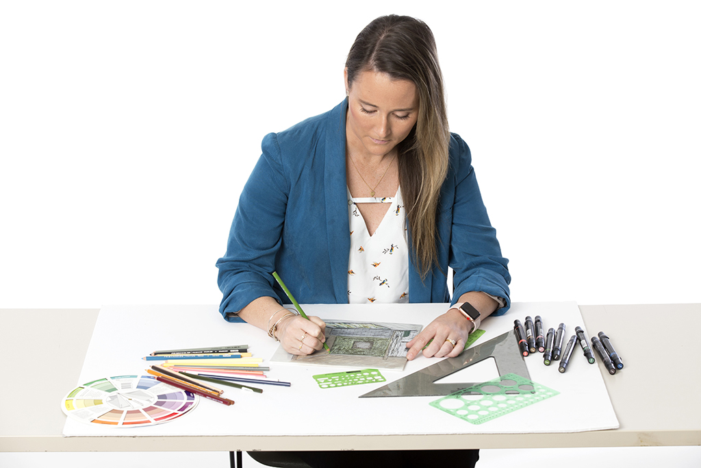 Female student working on interior design project