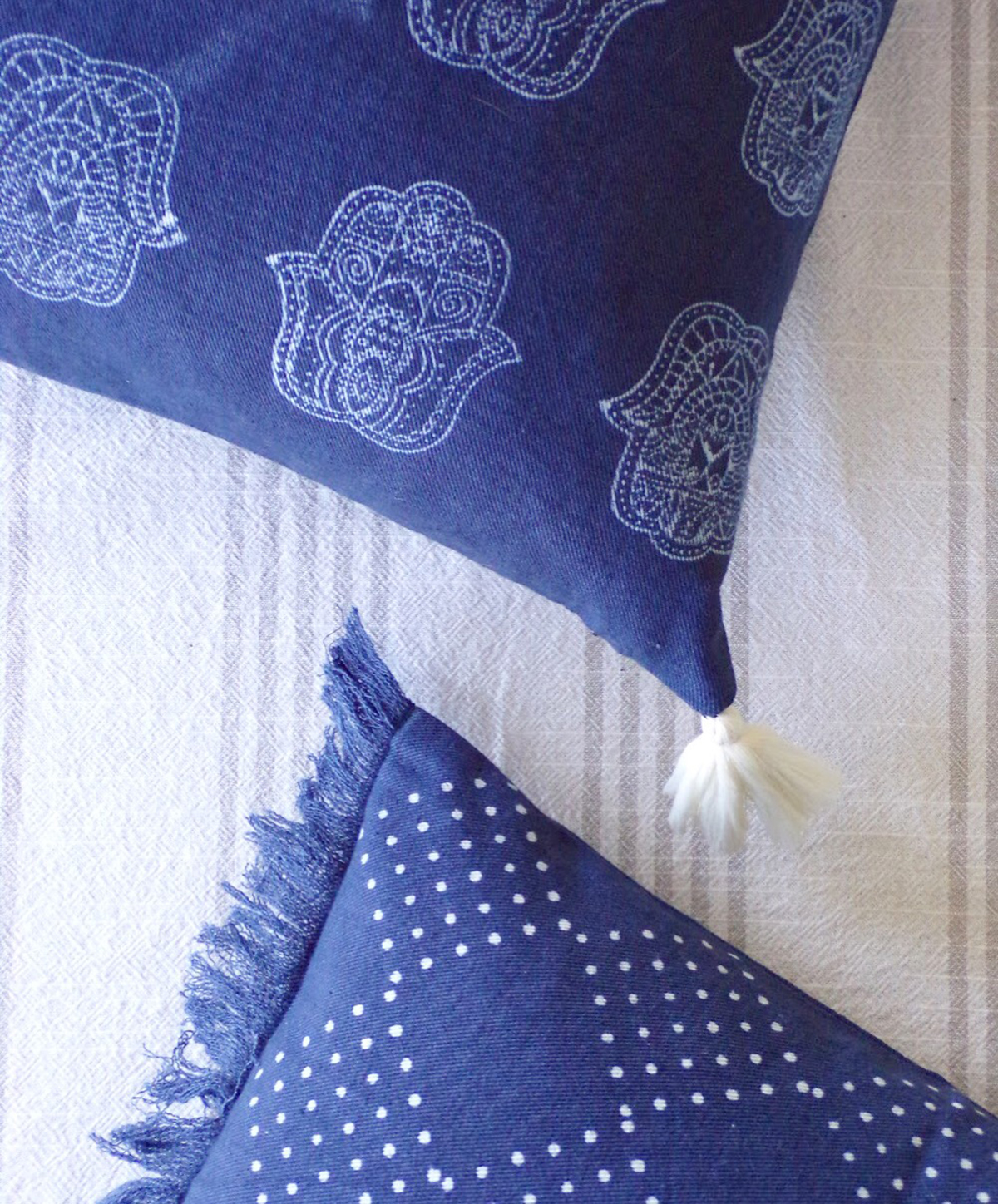 Close up of the detail of Chelsea's pillows