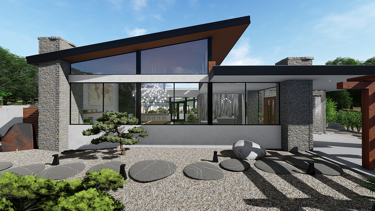 Spa project, located in Michigan. The entry building. The client wanted a serene modern development.