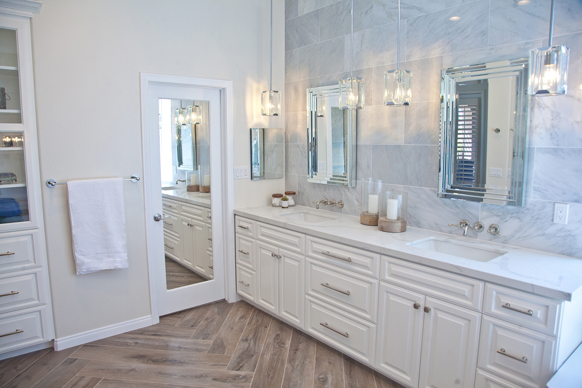 Bathroom Remodel by JY Design Interiors. Shot of two person sink