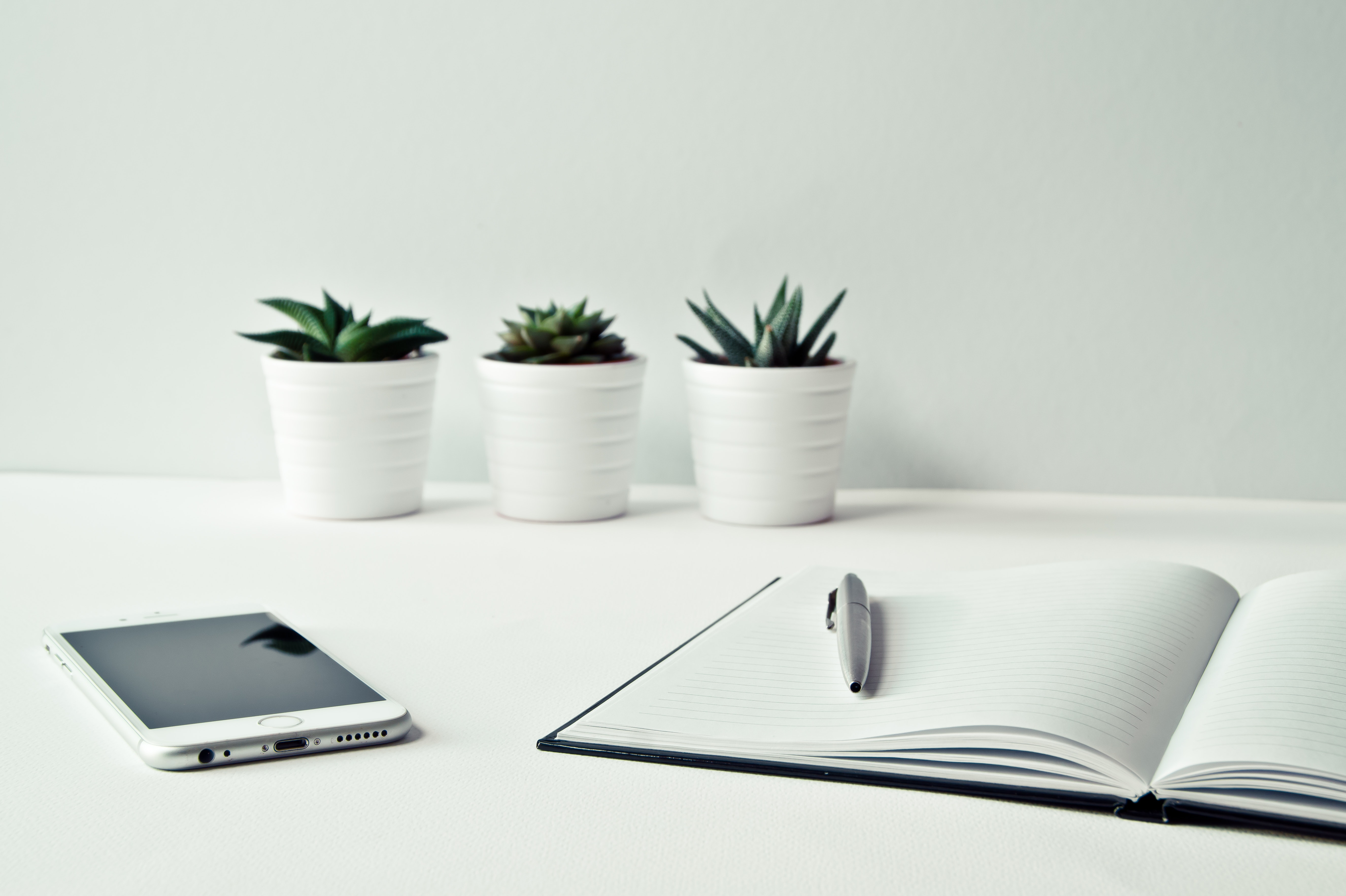 Tips for Your First Couple of Months on the Job by DI - three white vases, an iPhone and notebook