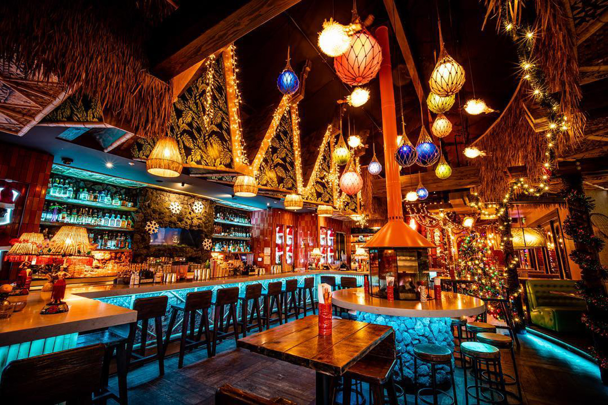 A view of the bar area in Grass Skirt