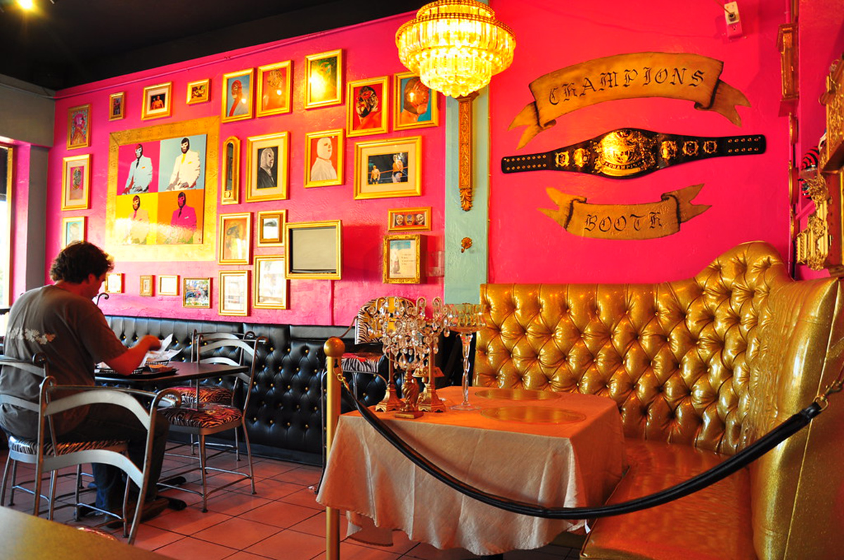 The interior dining area of Lucha Libre