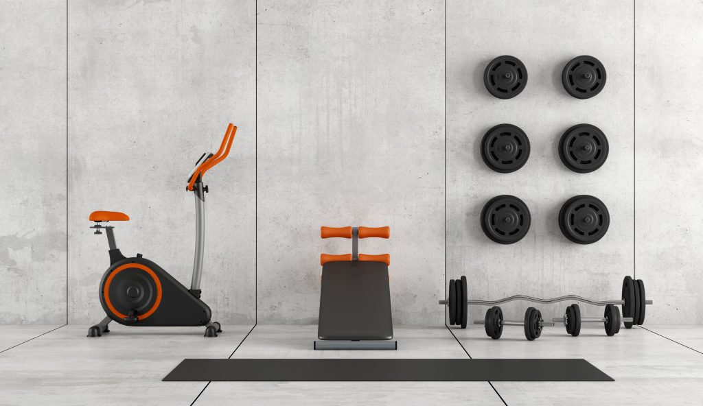 Photo of home gym equipment, used to teach remote online fitness classes.